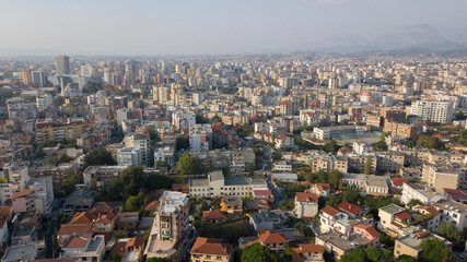 Aerial view of the city of Tirana, capital of Albania. The city is home to public institutions and the center of administrative life with many buildings still under construction