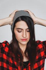 Stylish woman posing in studio