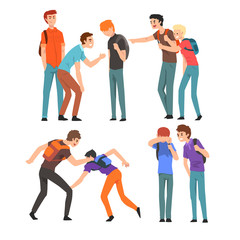 Conflict between teenagers, boys mocking his classmate, mockery and bullying at school vector Illustration on a white background