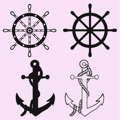 Ships anchor and Ships Wheel silhouette