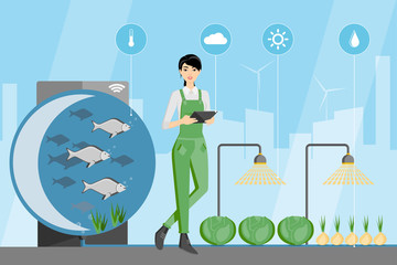Asian woman farmer with digital tablet. Growing plants in the greenhouse with aquaponics system. Vector illustration.