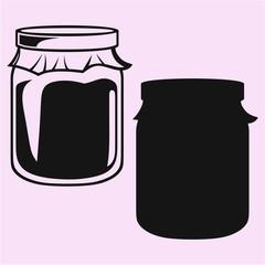jam in a glass jar silhouette