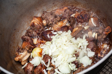 Lamb with white onion stew in a cauldron
