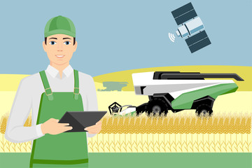 Etiqueta Engomada - Farmer controls an autonomous combine harvester via satellite. Internet of things in agriculture