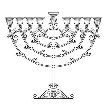 Vector drawing of outline Hanukkah menorah or Chanukiah candelabrum in black isolated on white background. Ornate contour Chanukah menorah for Jewish holiday design and coloring book.