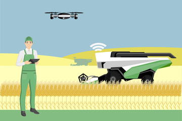 Etiqueta Engomada - Farmer controls an autonomous combine harvester and drone. Internet of things in agriculture