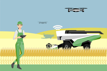 Etiqueta Engomada - Woman farmer controls an autonomous combine harvester and drone. Internet of things in agriculture