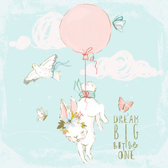 Cute hand drawn baby bunny with floral wreath, pigeons, butterflies, balloon and clouds