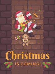 Santa Claus rappelling down the chimney with a dog and a present in hand. Christmas flat illustration card