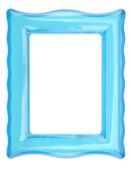 Vintage transparent plastic turquoise color photo frame on an isolated white background.