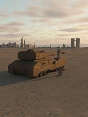 Future Super-Heavy Tank Guarding a Desert City - science fiction illustration