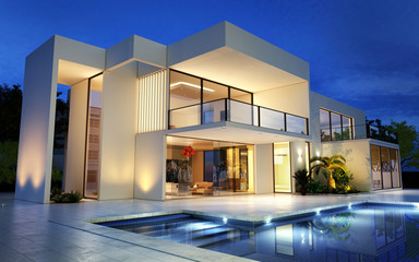 Upscale modern mansion with pool Fototapete