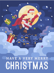 Santa Claus flying over a mountain village in a superhero cape on a snowy winter night. Christmas character greeting card flat illustration card