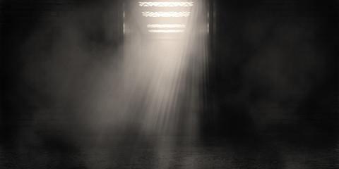 Background of an empty corridor, open elevator doors, brick walls, searchlight light, smoke, smog