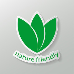 Nature friendly label logo. tags with text.