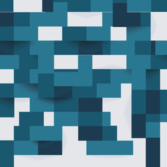 Abstract geometric shape from flat blue elements with shadows, vector background.