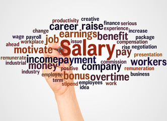 Salary word cloud and hand with marker concept
