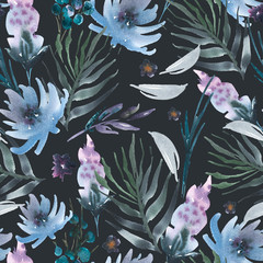 Abstract watercolor floral seamless pattern flowers, twigs, leaves, buds.