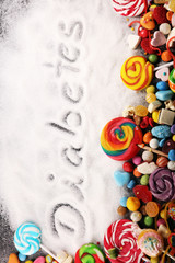 Diet and weight loss, denial of sweet. diabetes text with concept. Sugar description in black. sweets. Diabetes problems, harm from eating, dependence on flavoring