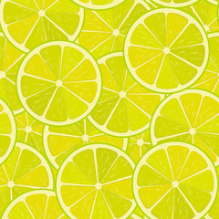Seamless lime or lemon vector pattern. Minimalistic food background. Vitamins repeatable texture.