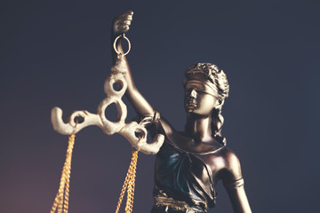lady justice on dark background