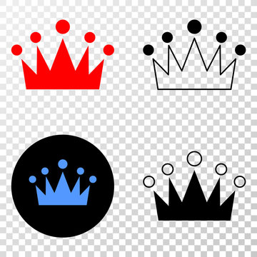 Crown EPS vector pictogram with contour, black and colored versions. Illustration style is flat iconic symbol on chess transparent background.