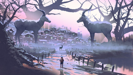 man looking at village of impala the legendary animal in winter forest, digital art style, illustration painting