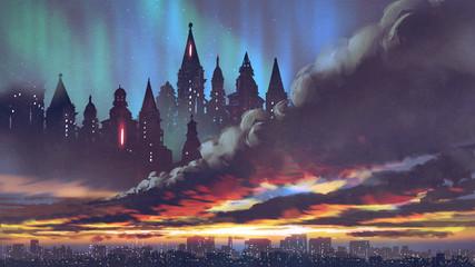 Foto auf Acrylglas Aubergine lila sunset scenery of the dark castles on black clouds above the city, digital art style, illustration painting