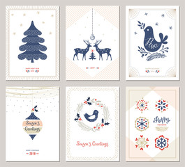 Winter Holidays greeting cards. Vector illustration.