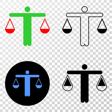 Judge EPS vector pictograph with contour, black and colored versions. Illustration style is flat iconic symbol on chess transparent background.