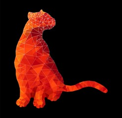 Poly animal cat sitting in red rubypolygonal abstract vector illustration