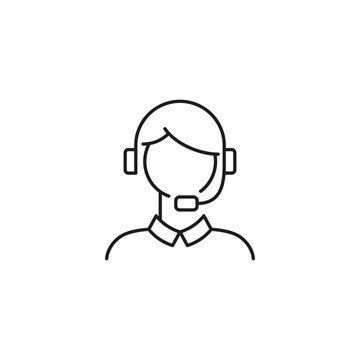 female customer support line icon on white background