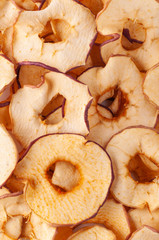 Dried apple slices (chips) background