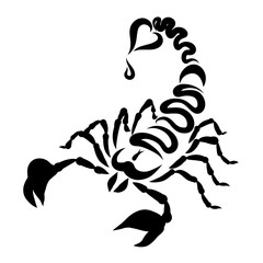 Scorpio, a heart at the end of the tail, a sting and a drop of poison or blood