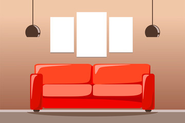 Red sofa with two lamps and a set of space for three paintings. Vector illustration of a flat style.