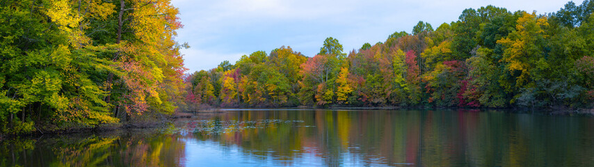 Panorama of fall colors along a pond in New Jersey