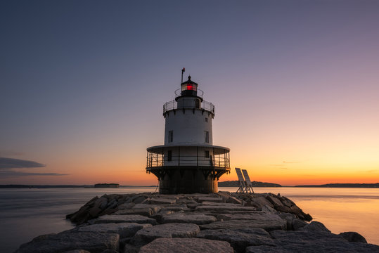 Spring Point Ledge Lighthouse in South Portland Maine at dawn