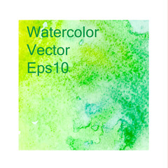 Green watercolor background, texture, template. vector illustration