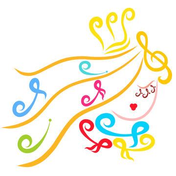 Beautiful princess, notes, music and beauty, creative