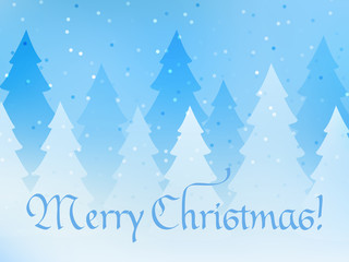 Merry Christmas greeting card. Blue magical background and a forest in the fog. Vector illustration.