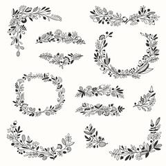 Floral Hand-drawn Frames and Vignettes for Sign Decoration. Vector Set