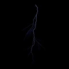 Isolated realistic electrical lightning strike visual effect on black night background. Energy change.