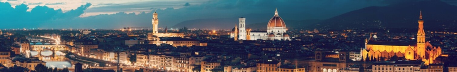 Panorama Cityscape from height, roofs of red tiles and narrow streets of Florence, Italy Wall mural