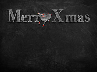 3d illustration rendering of chalk Merry Christmas wishes on blackboard with red shopping cart decoration