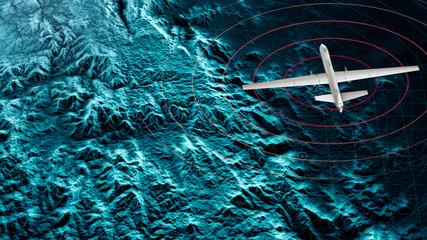Vista satellitare di un drone militare che sorvola una zona di guerra, operazioni di guerra, visione notturna. Target militare. Operazione sotto copertura. Rilievi montuosi