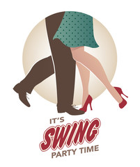 Fototapete - It's swing party time: Legs of man and woman wearing retro clothes and shoes dancing jazz, swing, rock or lindy-hop