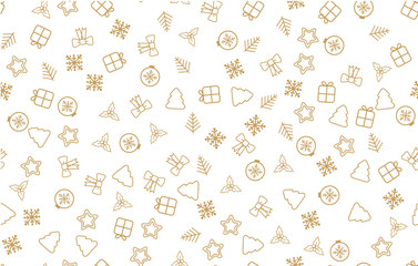 Seamless Christmas pattern. Christmas pattern with decorative snowflakes, gift box, christmas tree, star, christmas balls on white background.
