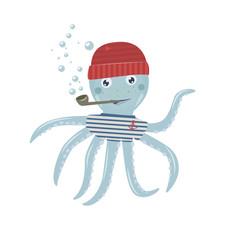Octopus sailor cartoon