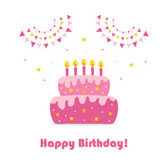 Happy Birthday card, cute cartoon vector illustration with birthday cake and party decorations.