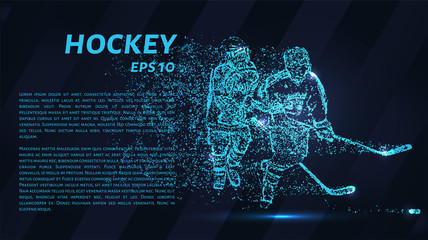 Hockey of blue glowing dots. Hockey vector illustration.